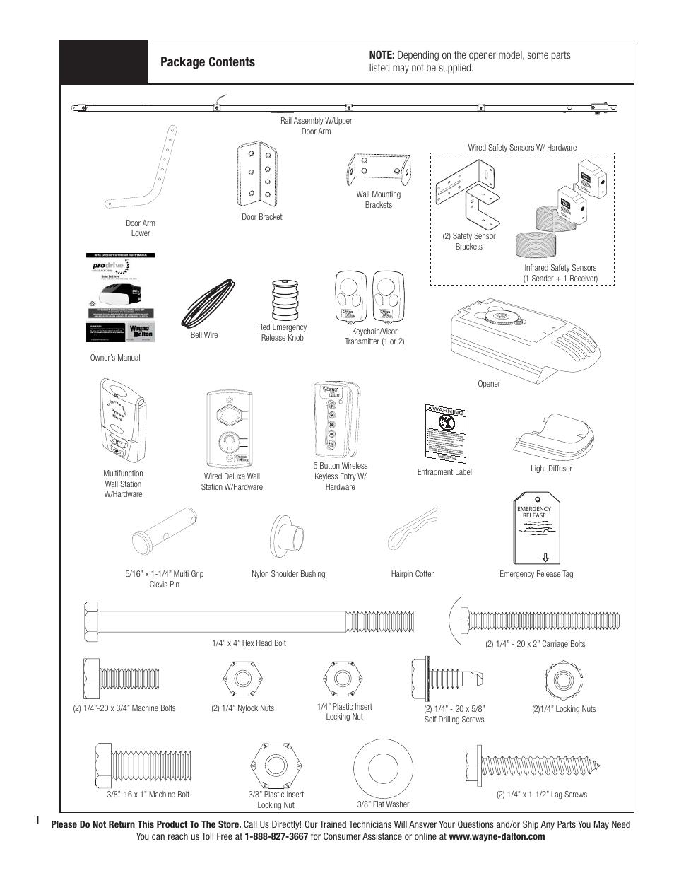Package Contents Wayne Dalton Prodrive 3222c Z User