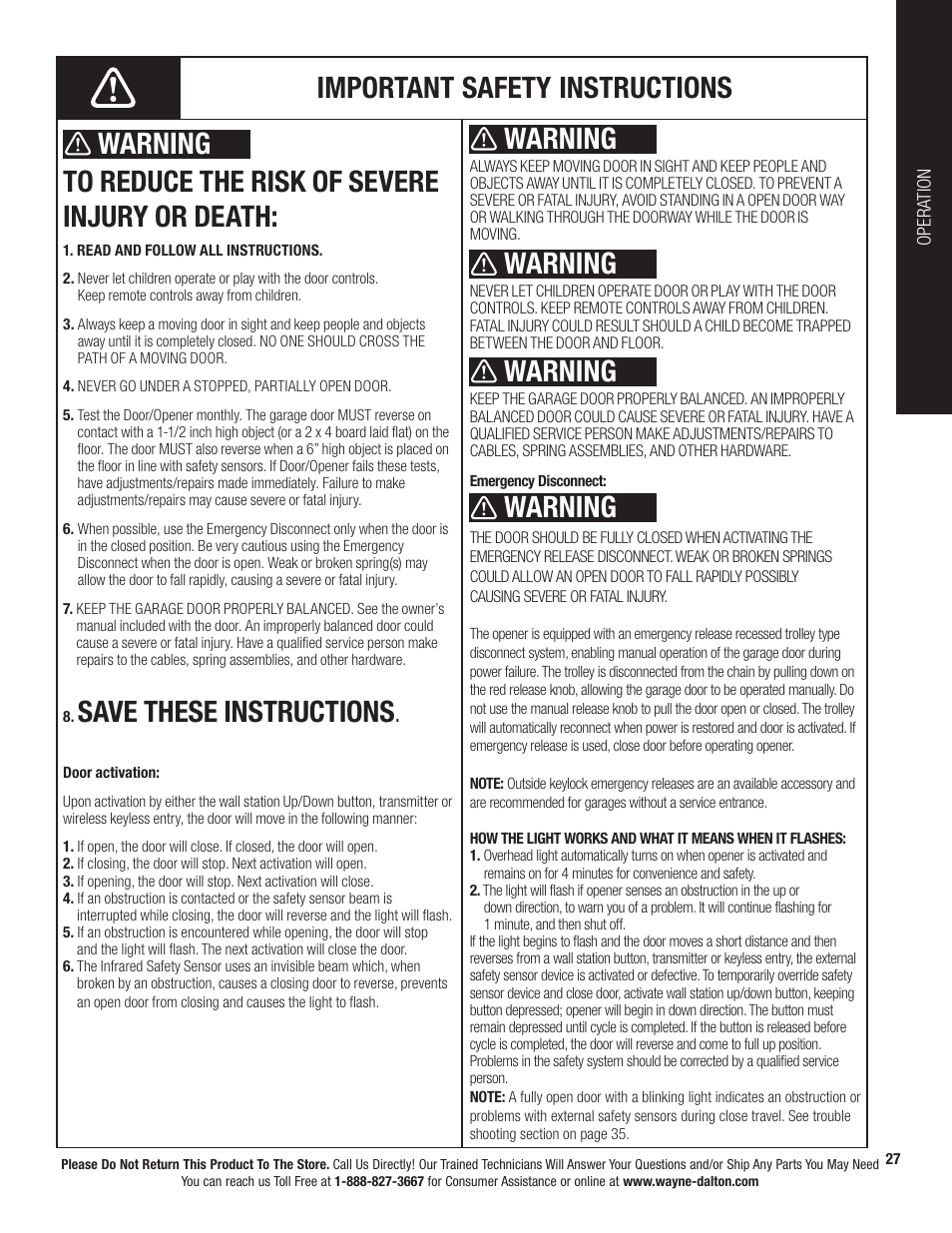 save these instructions warning wayne dalton prodrive 3222c z rh manualsdir com wayne dalton 3212 owners manual Wayne Dalton Garage Door Openers