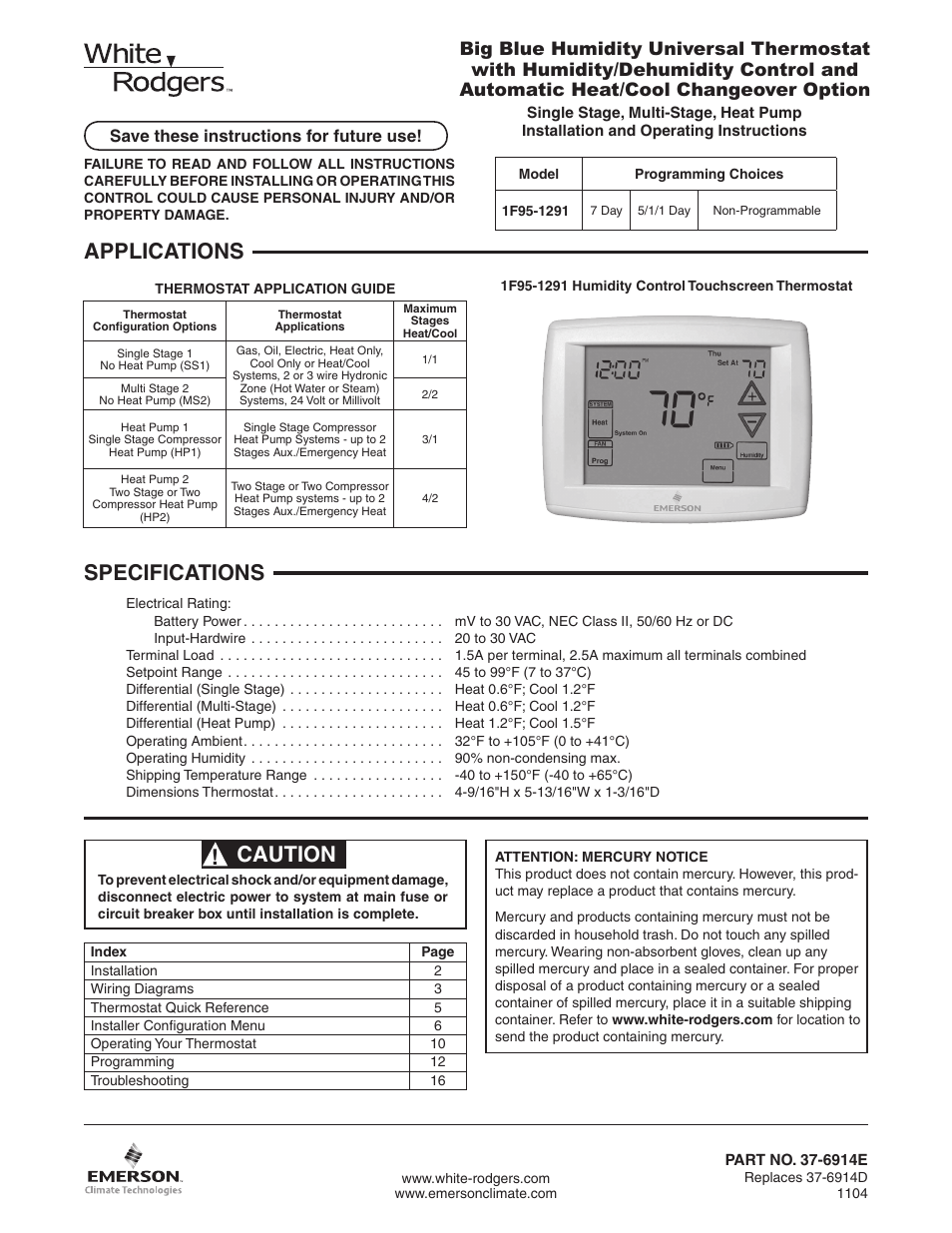 Emerson Thermostat Installation Instructions 2 Stage Heat Wiring Diagram Free Picture