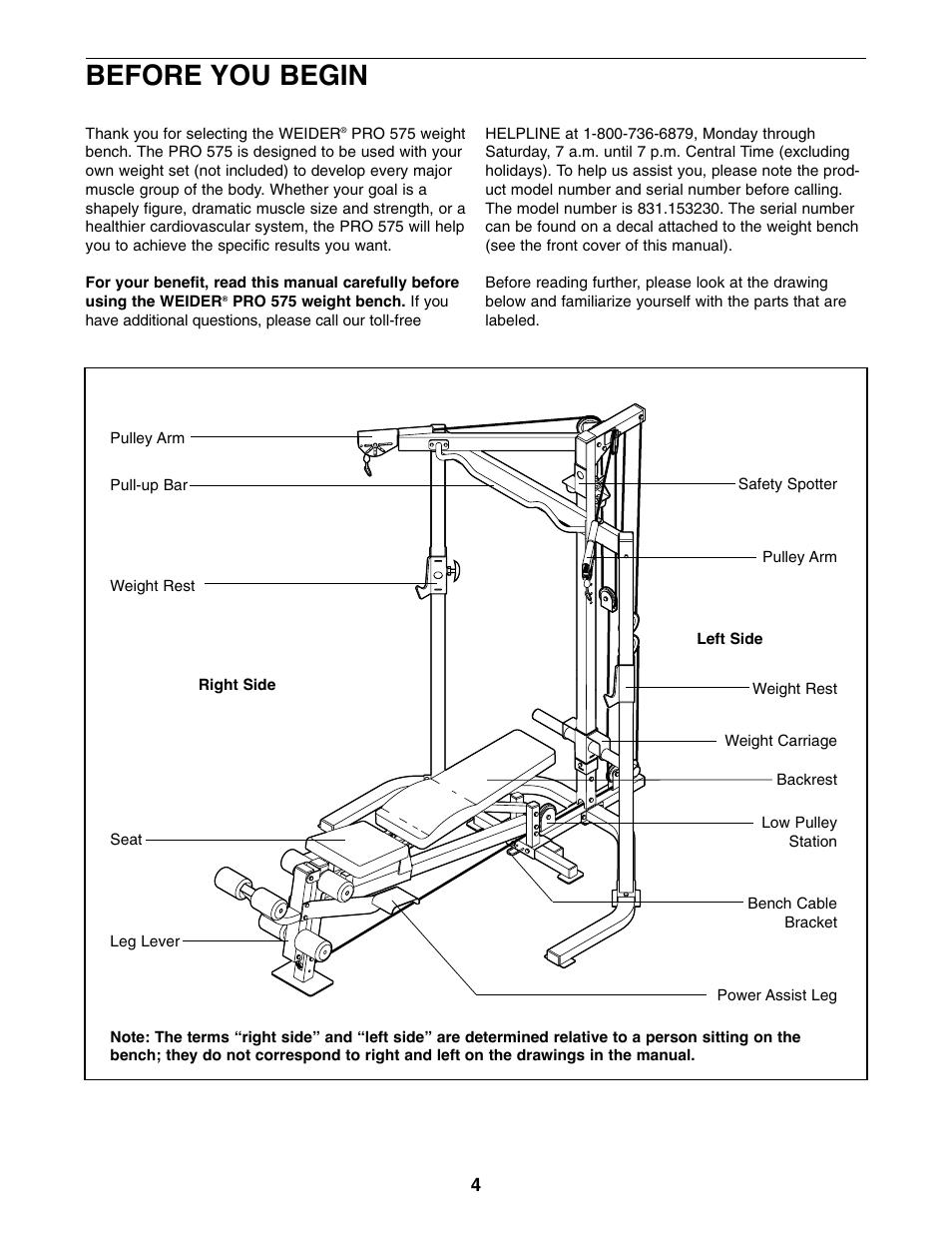 Weider pro 575 bench manuals.