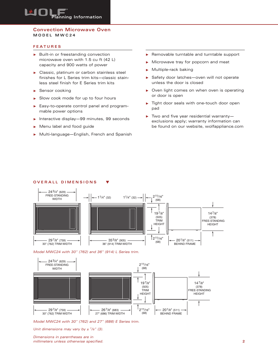Convection Microwave Oven Wolf Appliance Company Mwc24