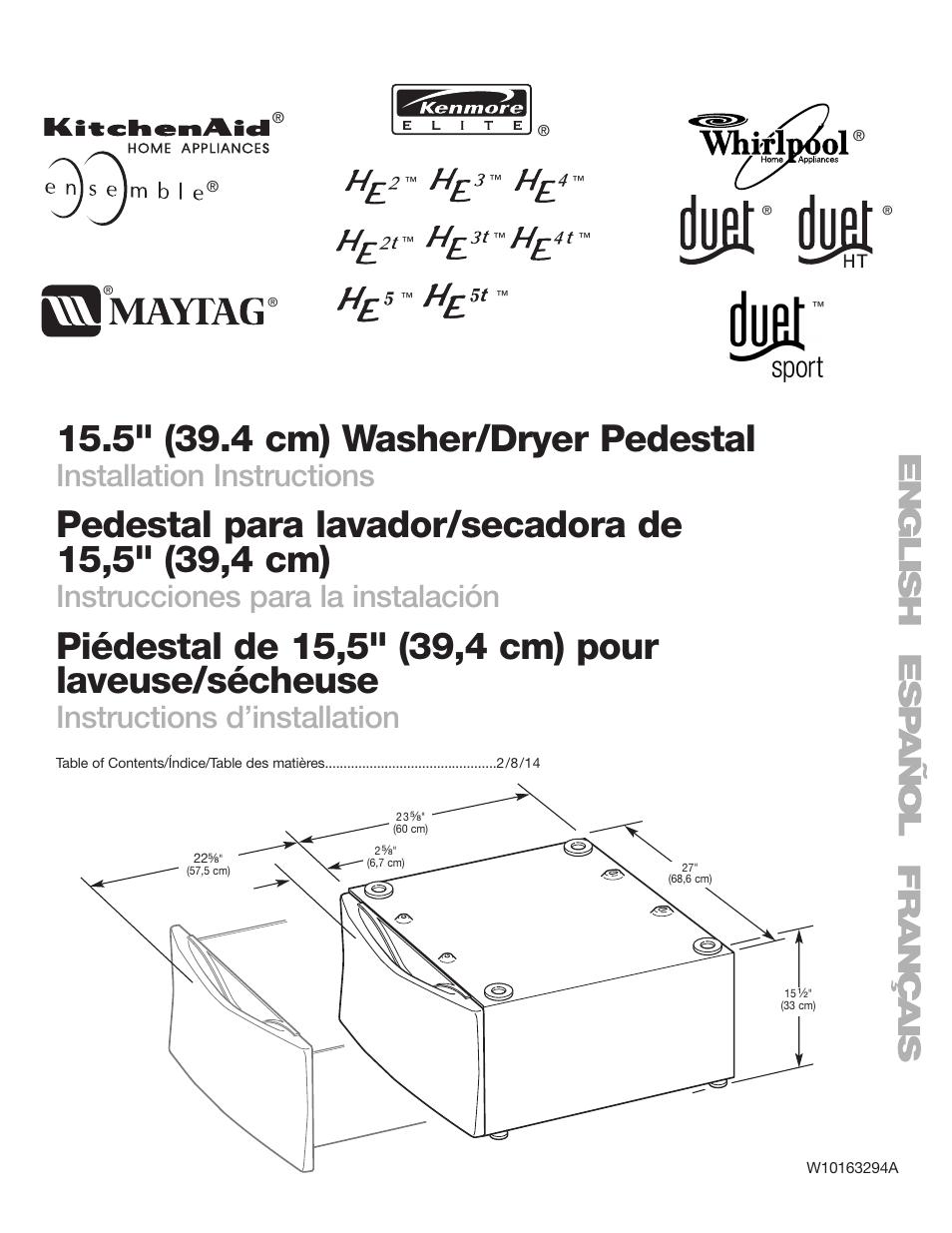 Whirlpool Washer Dryer Laundry Pedestal