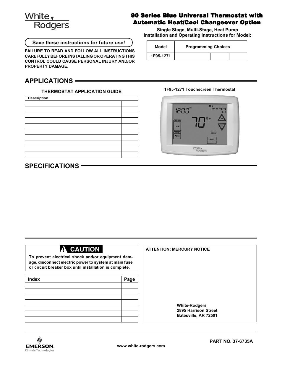 White Rodgers 1F95-1271 User Manual | 8 pages
