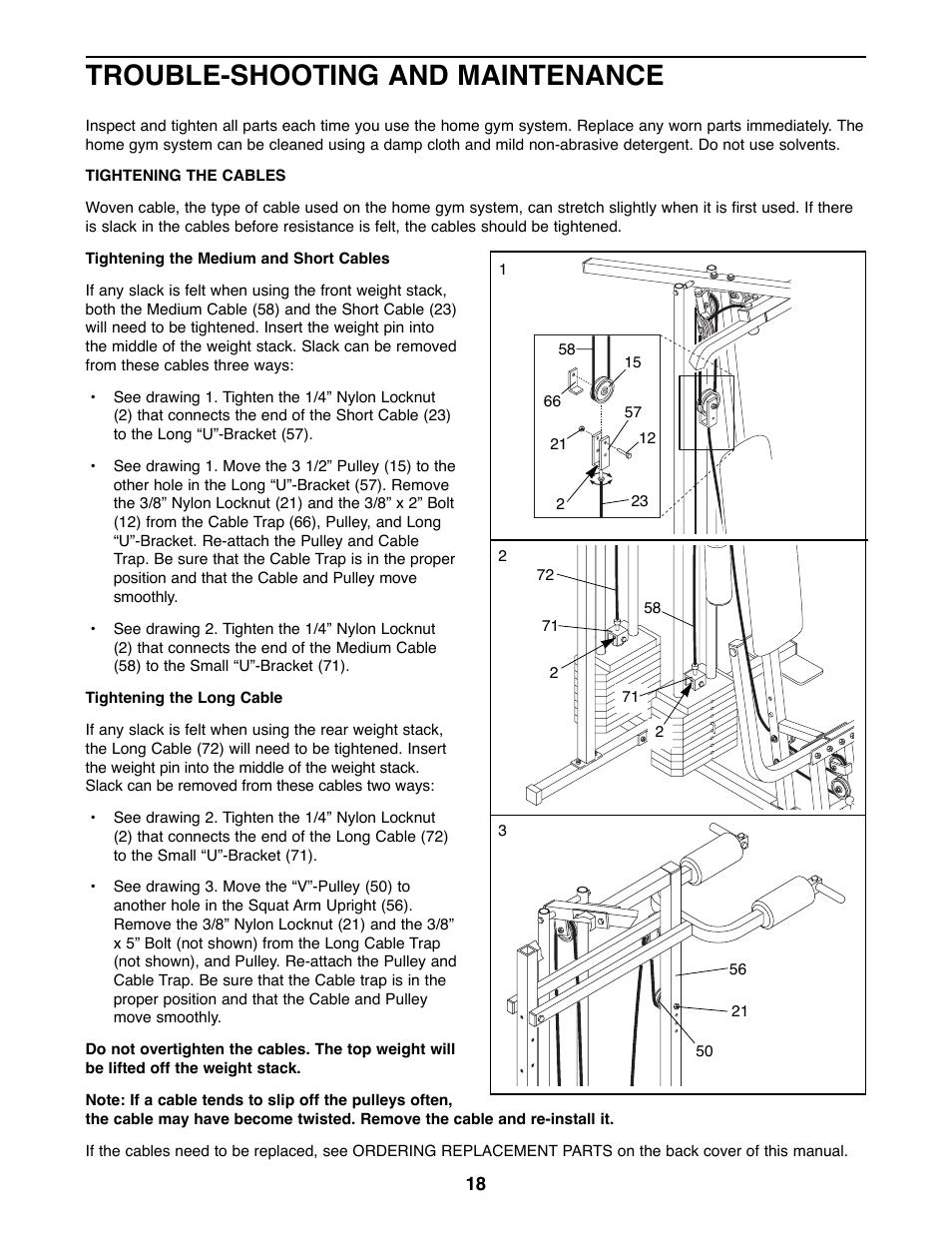 trouble shooting and maintenance weider 8530 user manual page 18 25 original mode. Black Bedroom Furniture Sets. Home Design Ideas