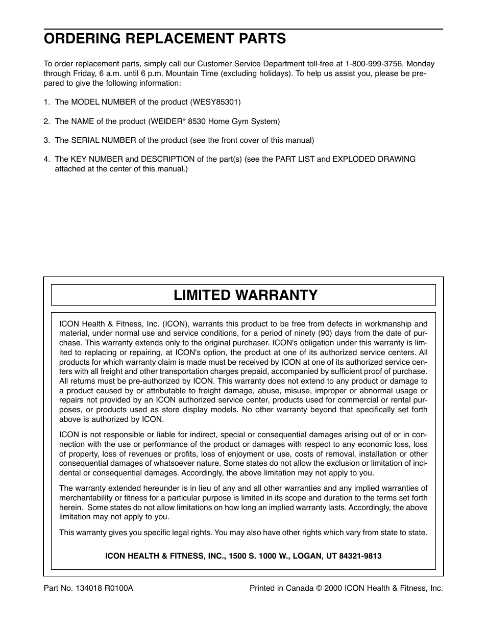 ordering replacement parts limited warranty weider 8530 user rh manualsdir com