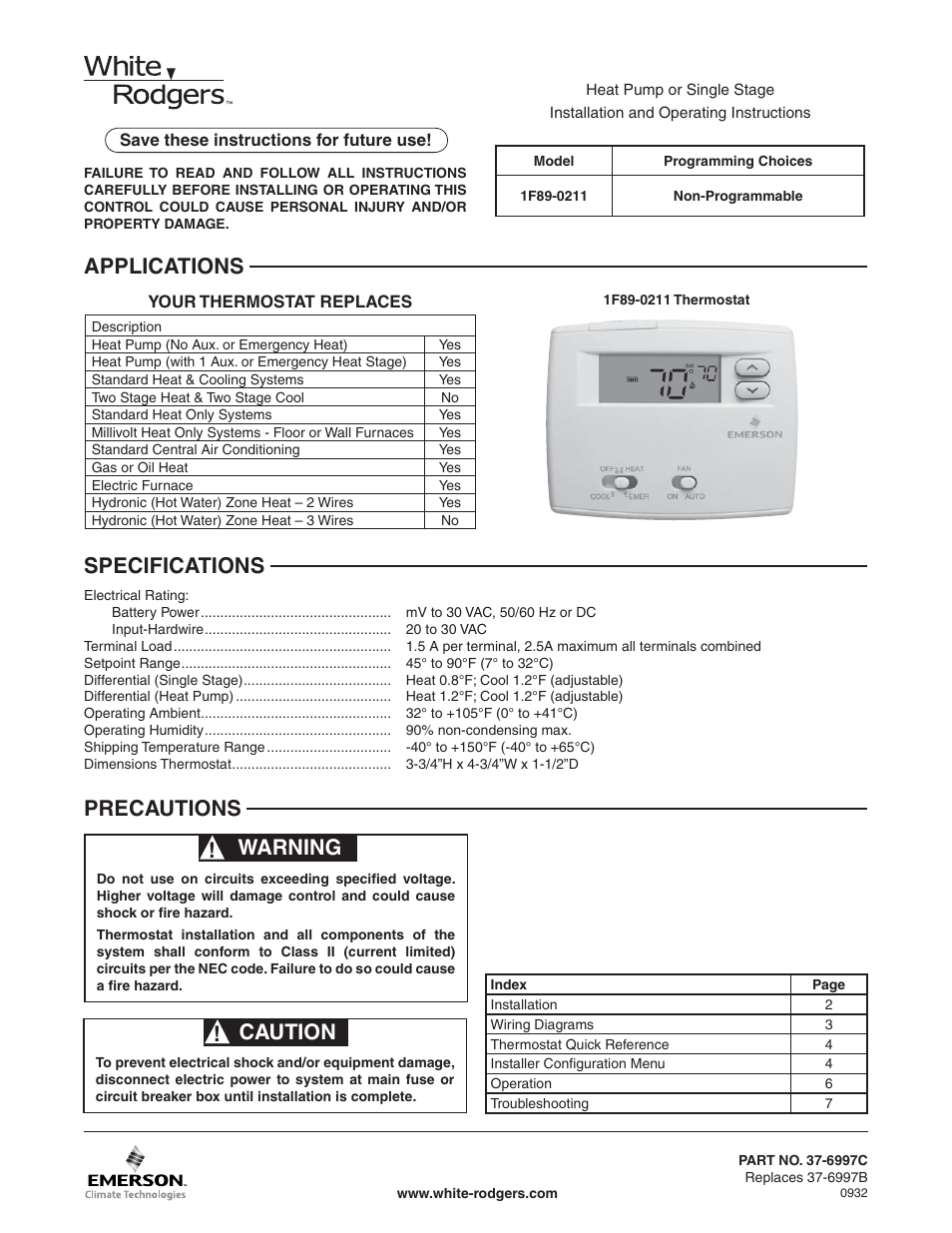 White Rodgers BLUE 2 1F89-0211 User Manual | 16 pages