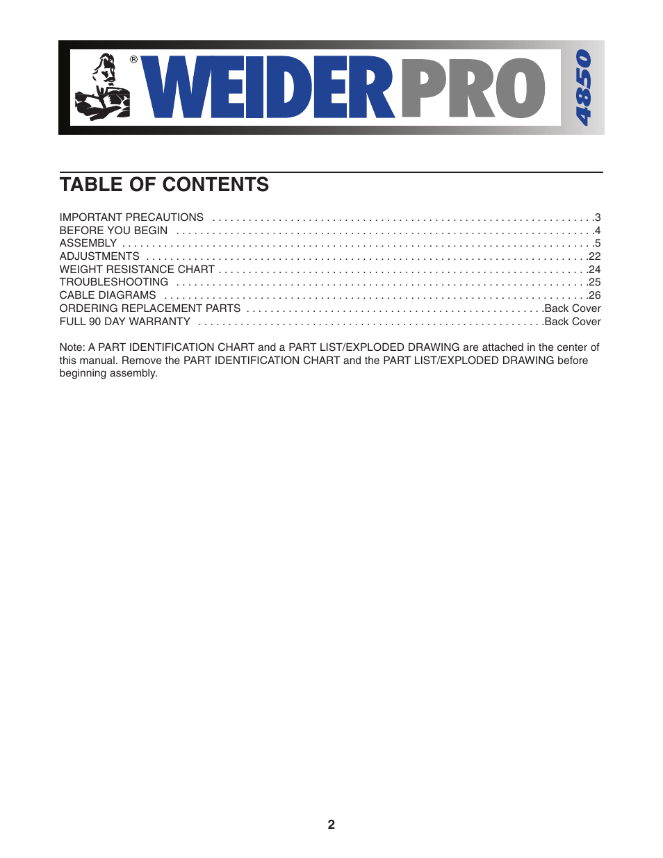 Cable diagrams | weider pro 4850 831. 153932 user manual | page 26 / 33.