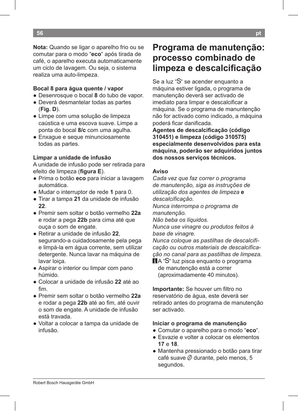 Bosch tca 5201 user manual | page 60 / 100 | original mode.