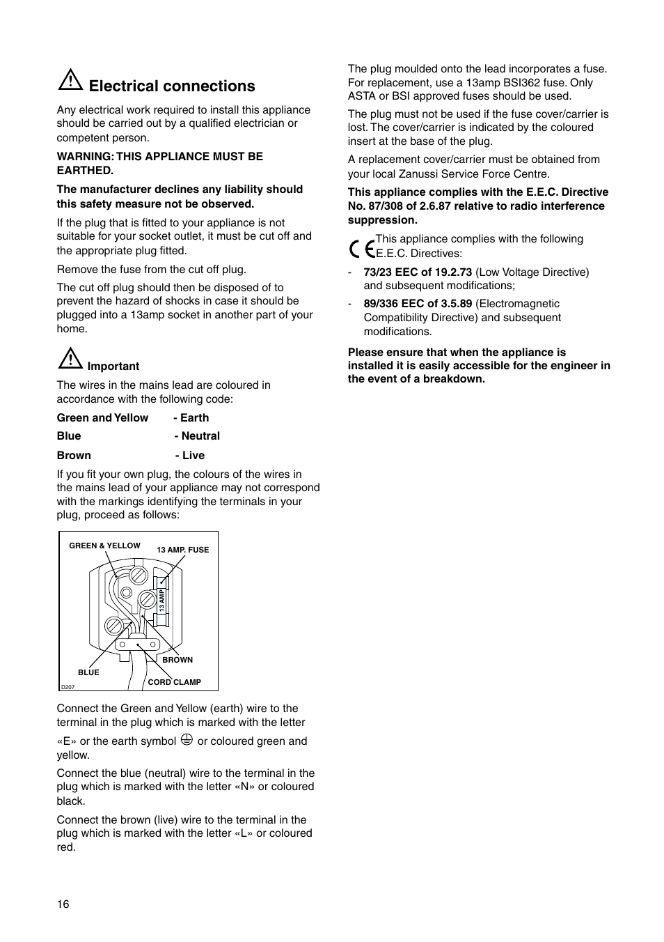 Electrical Connections Zanussi Zi 9454 X User Manual Page 16 24 Wiring A Plug Colours
