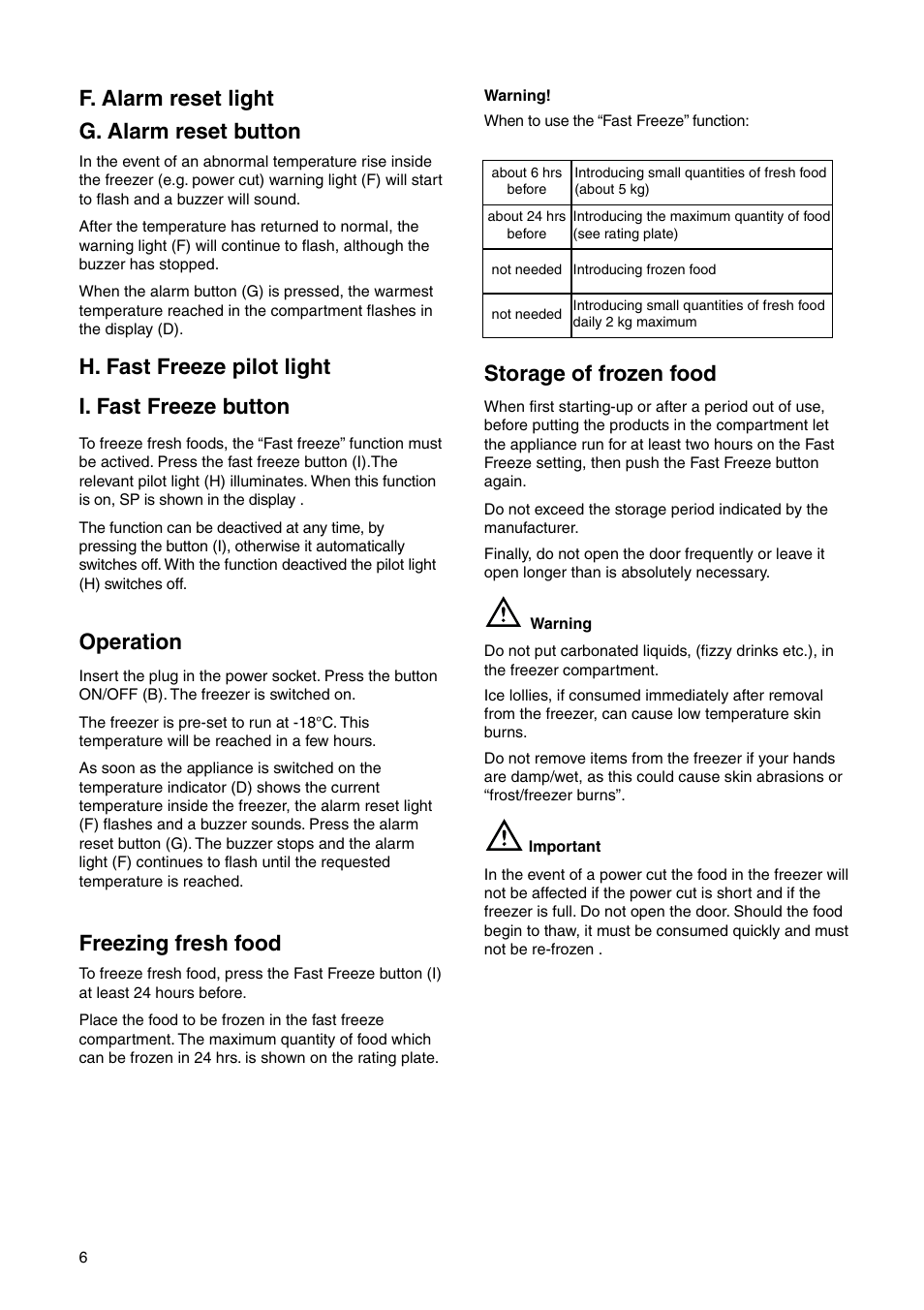 Storage Of Frozen Food F Alarm Reset Light G On Operation Zsi Zi 9454 X User Manual Page 6 24