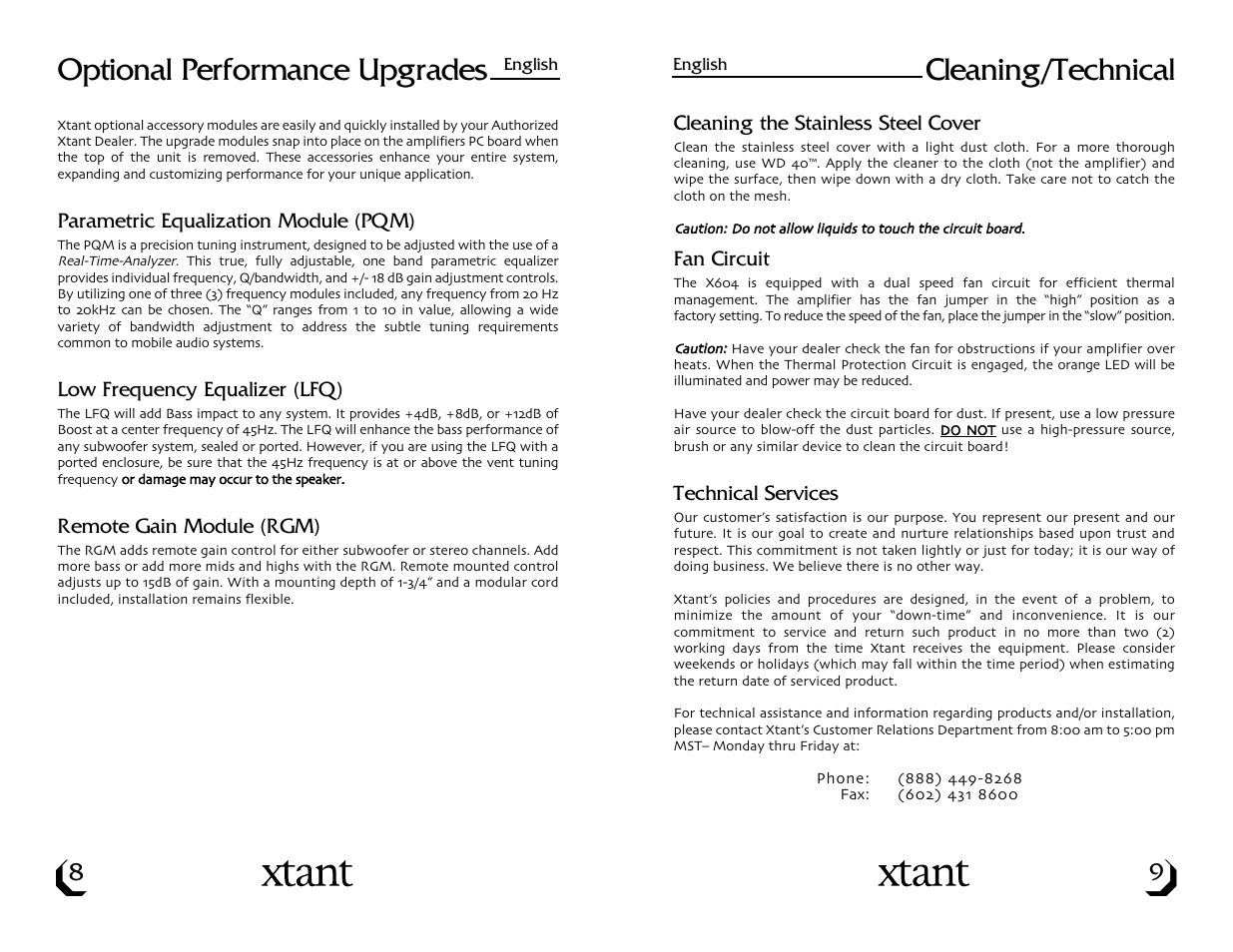 Cleaning/technical, Optional performance upgrades | Xtant