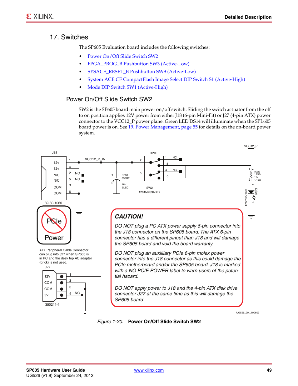 Switches, Power on/off slide switch sw2, Pcie power | Xilinx