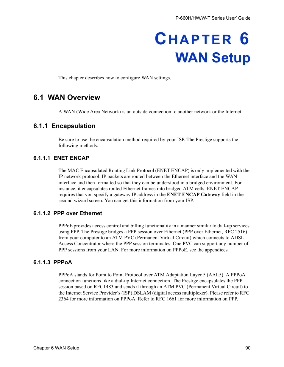 Wan setup, 1 encapsulation, 1 enet encap | ZyXEL Communications ADSL