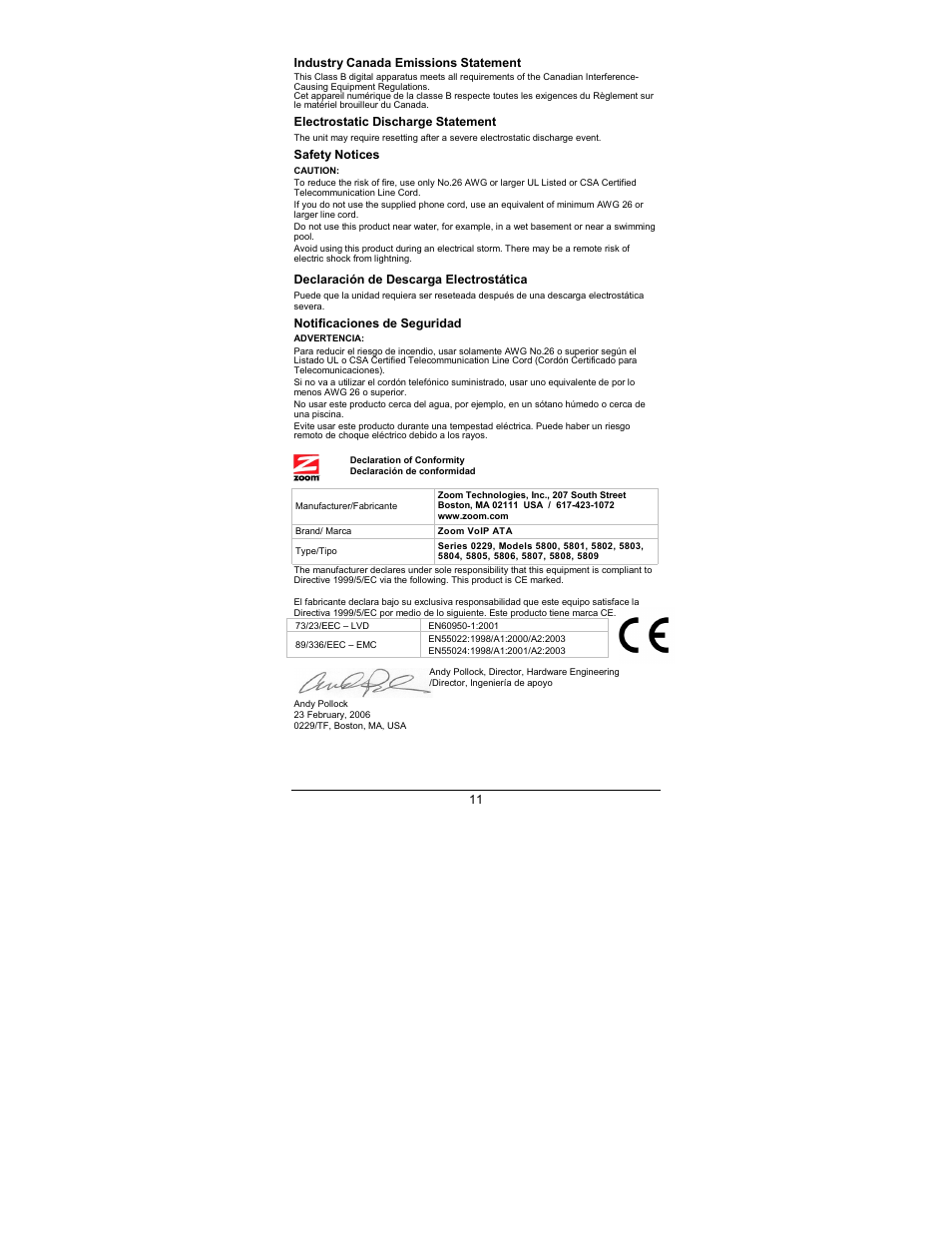 Zoom 5809 User Manual | Page 11 / 12 | Also for: 5808, 5804