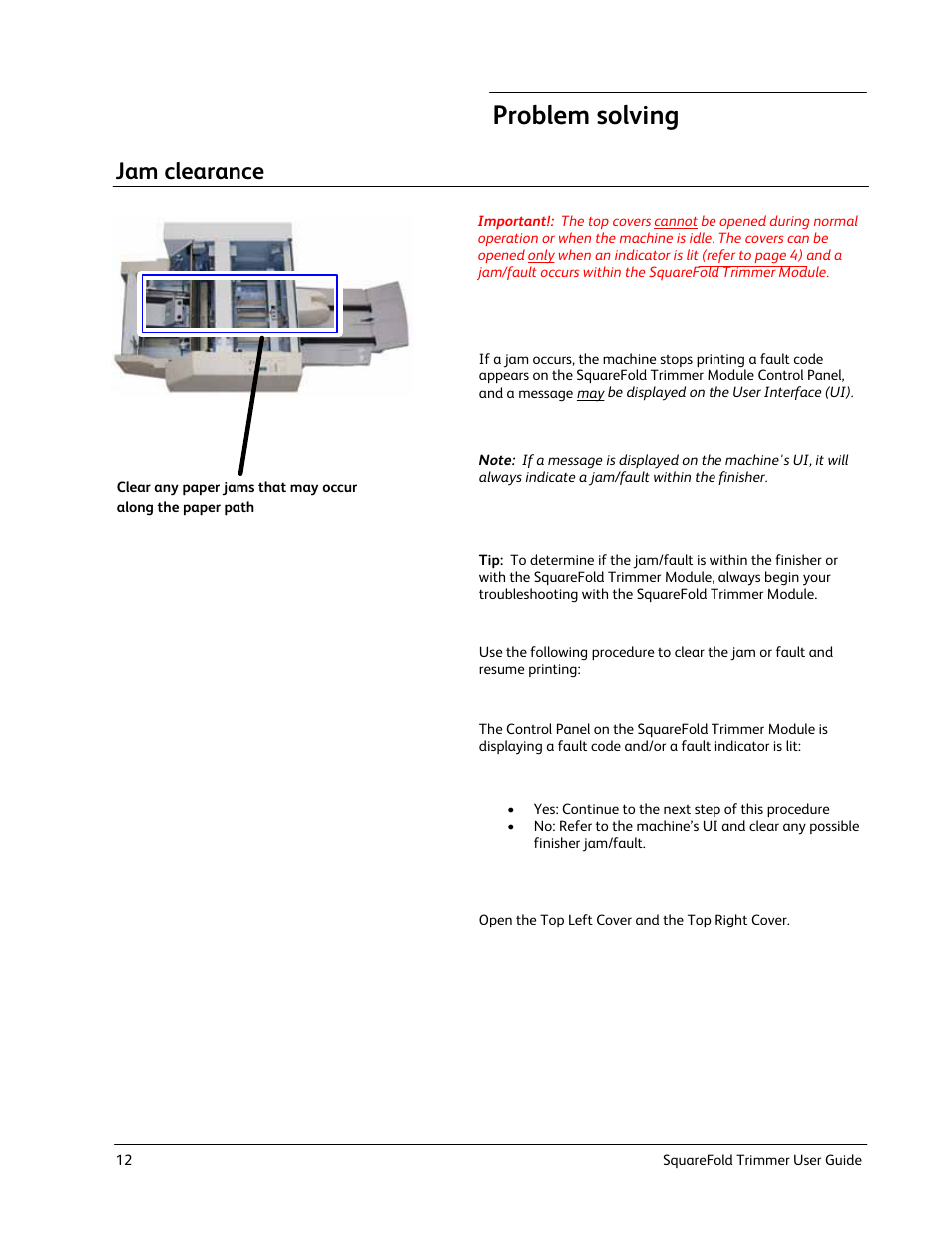 Problem solving, Jam clearance | Xerox Trimmer Module