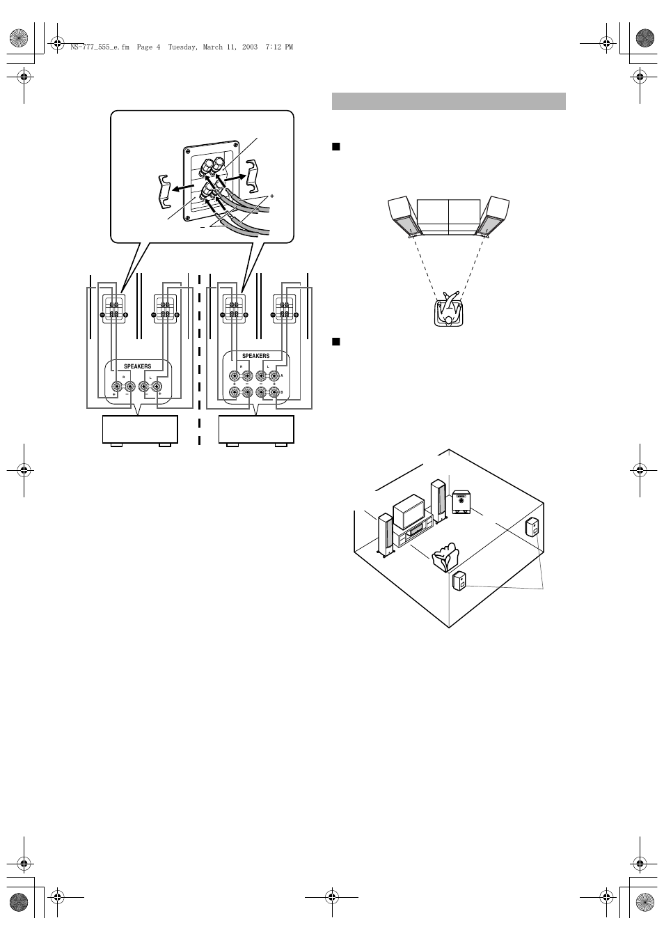 Placing The Speakers Bi Wired Connection Using As 2ch Stereo Diagram Further Wire Speaker Cable On Wiring Yamaha Ns 555 User Manual Page 4 6