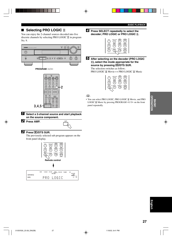 Selecting pro logic press amp remote control yamaha rx v530rds selecting pro logic press amp remote control program l h basic publicscrutiny Choice Image
