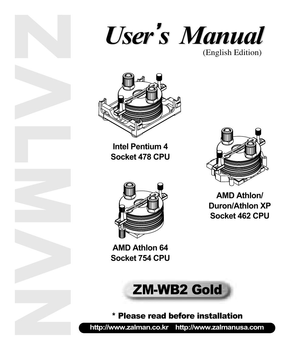 Zalman Amd Athlon Duron Xp Socket 462 Cpu User Manual 9 Processor Intel Pentium 4 478 Pages Also For 64 754
