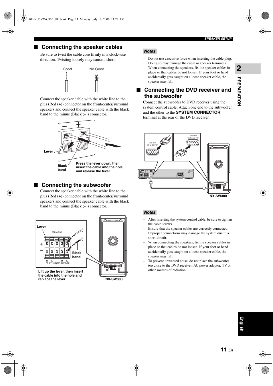 Connecting the fm/am antennas | yamaha dvx-c310sw user manual.