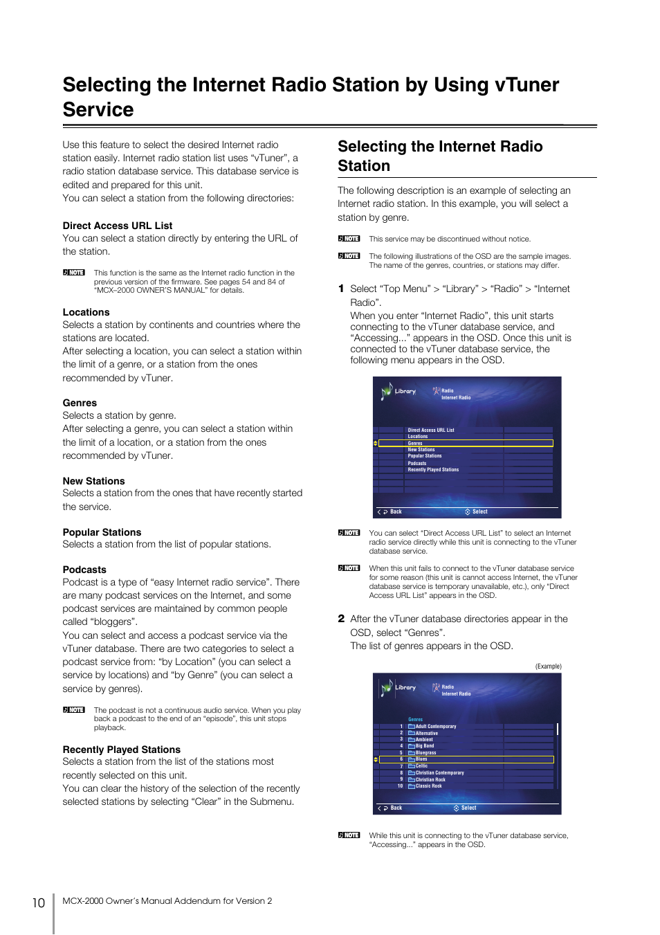 Selecting the internet radio station, By using vtuner