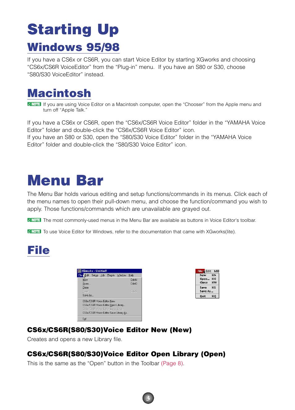 Starting up, Menu bar, Starting up menu bar | Yamaha S80 EN User