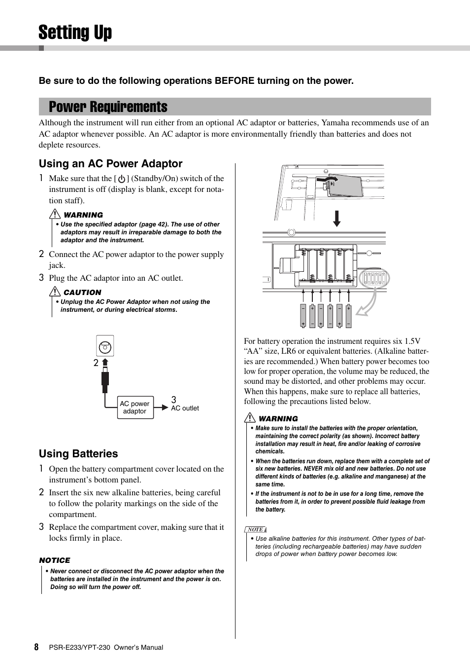 Introduction Setting Up Power Requirements Yamaha Ypt