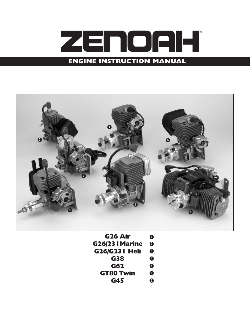 Zenoah G26 AIR User Manual   24 pages   Also for: G26/231MARINE, G26/G231  HELI, G38, G62, GT80 TWIN, G45