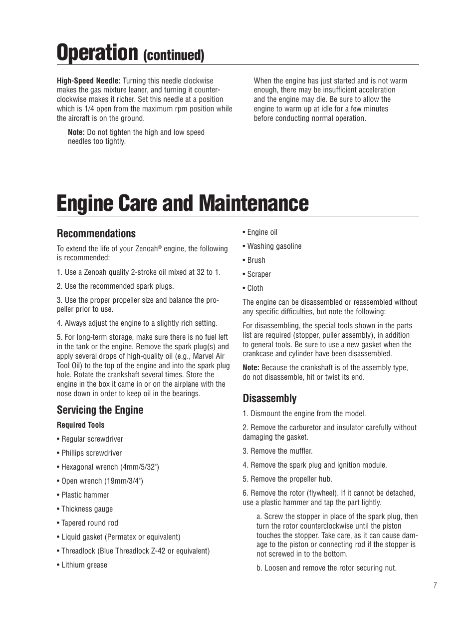 Operation, Engine care and maintenance, Continued) | Zenoah