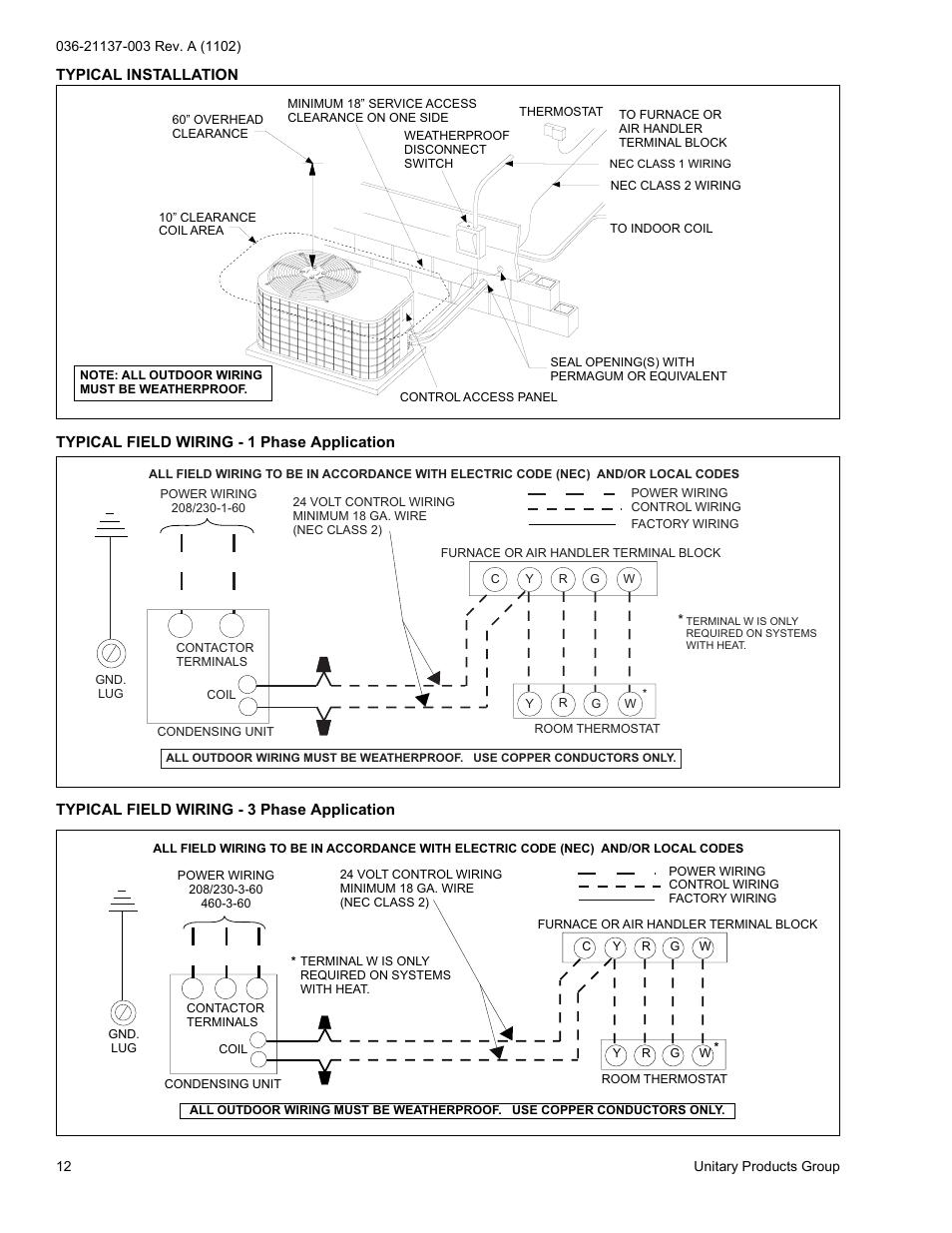 York Hrc018 Thru 060 User Manual Page 12 24 Original Mode Outdoor Wiring Code
