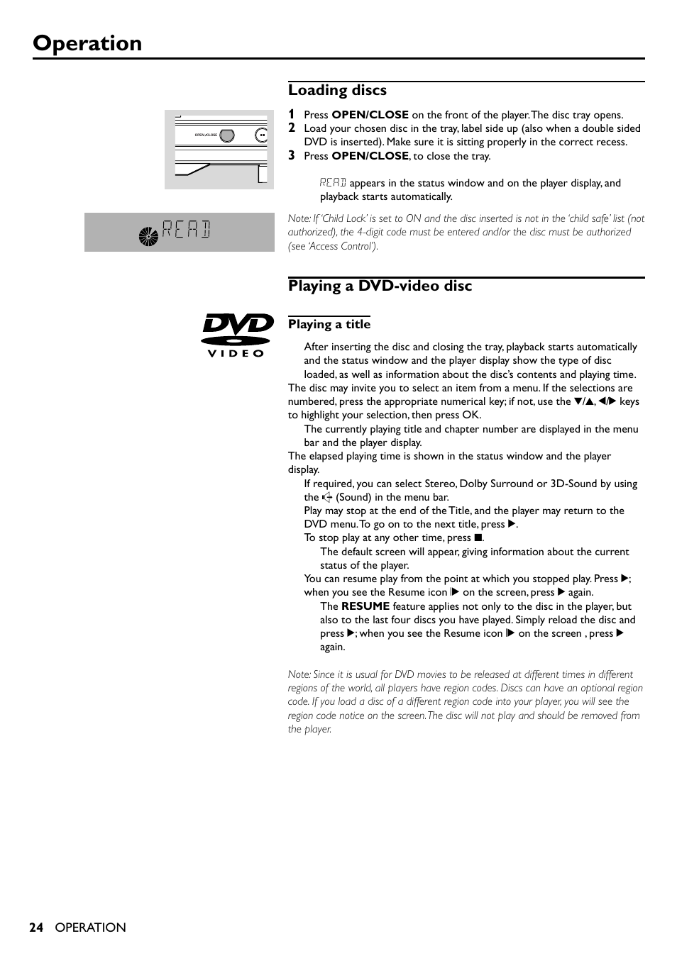 Operation, Loading discs, Playing a dvd-video disc | Yamaha DVD-S510