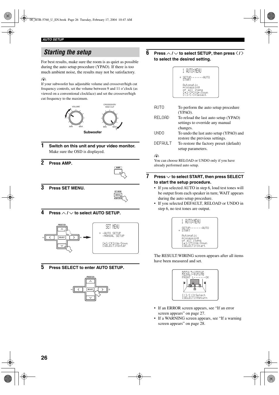 starting the setup set menu 1 auto menu yamaha htr 5760 user rh manualsdir com yamaha htr 5740 manual pdf yamaha htr-5760 service manual
