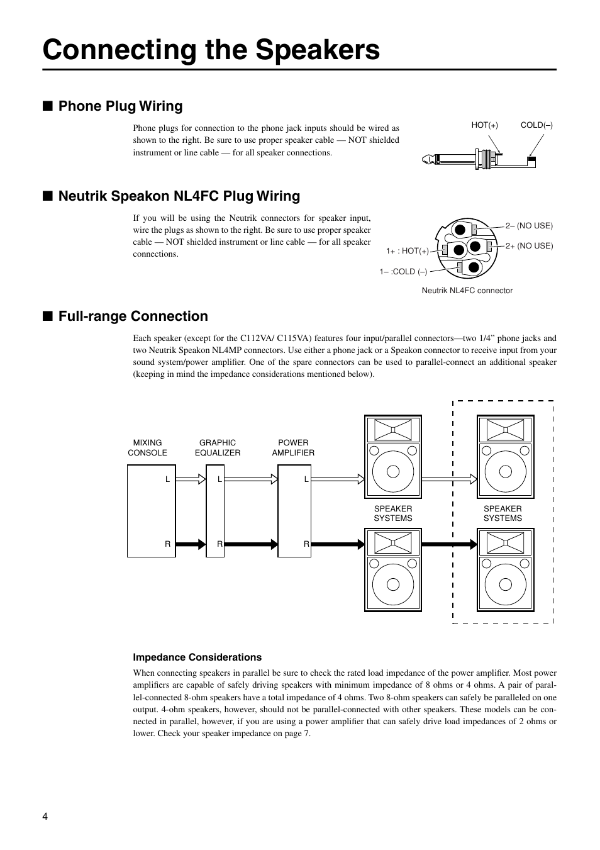 Connecting the speakers, Phone plug wiring, Neutrik speakon nl4fc plug  wiring   Yamaha C115V User Manual   Page 4 / 11   Original mode   Speakon Jack Wiring      Manuals Directory