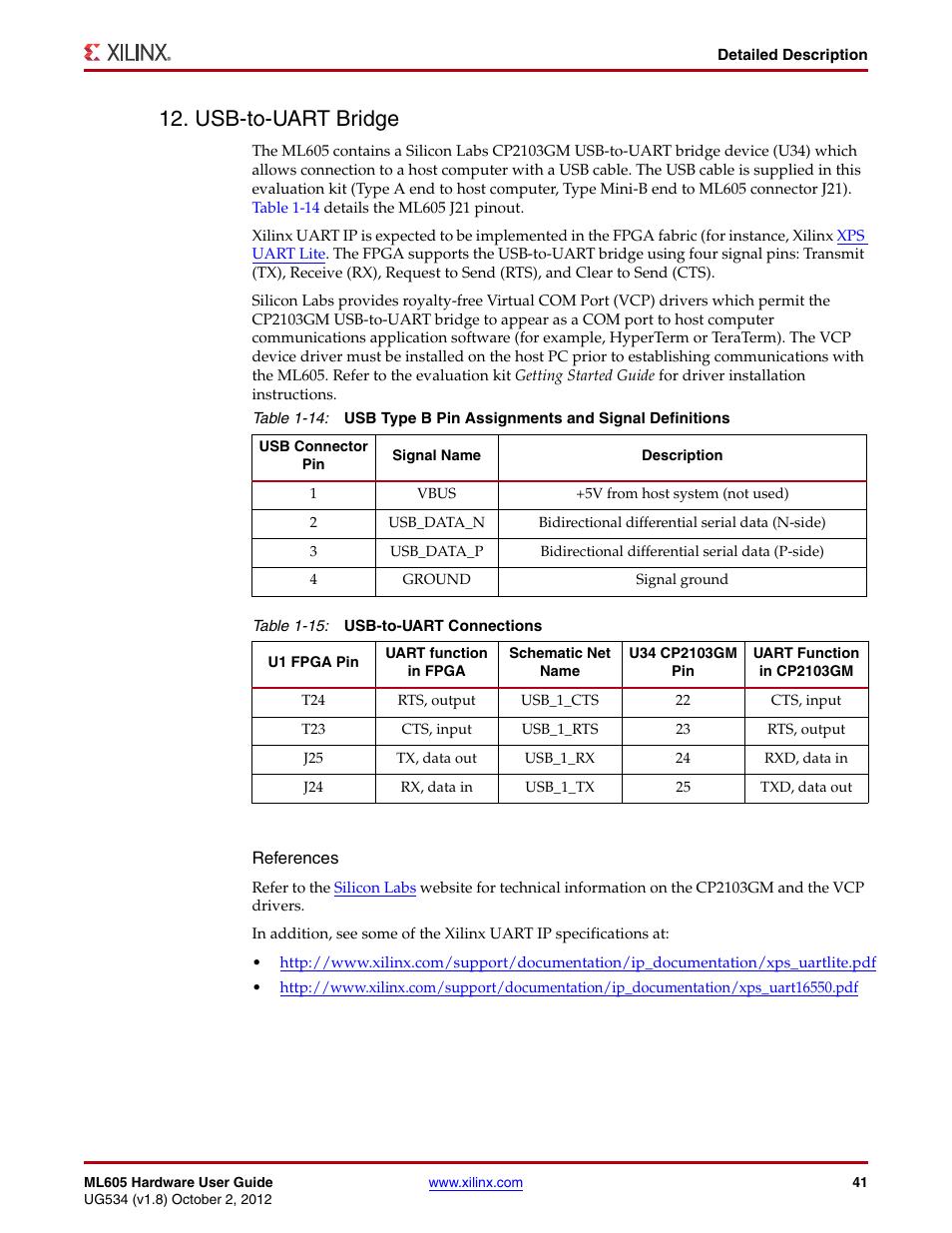 Usb-to-uart bridge, Pdated, Table 1-15 | Xilinx ML605 User ... on
