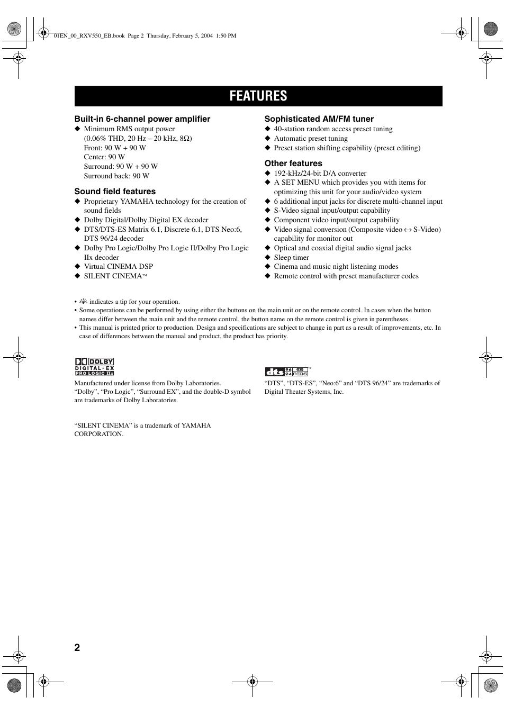 Features Yamaha Rx V550 User Manual Page 4 78 Original Mode