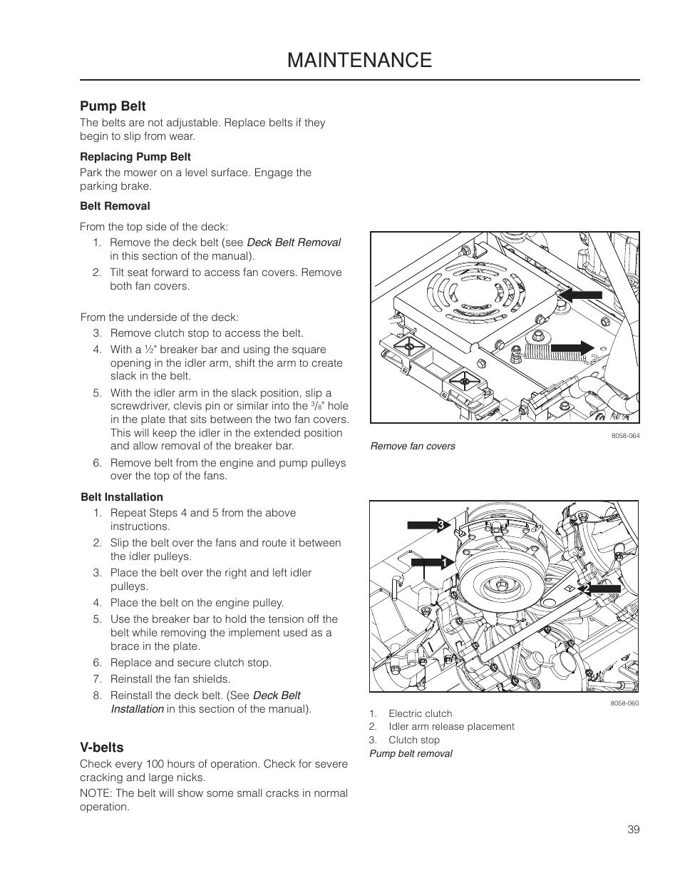 Pump belt, V-belts, Maintenance | Yazoo/Kees ZMKW 5222 User Manual | Page  39 / 64