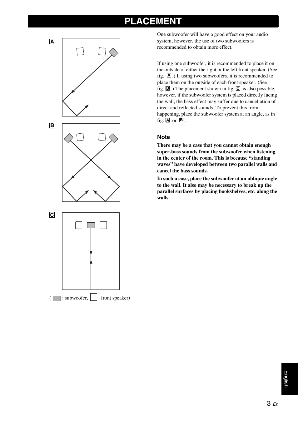 Placement | Yamaha NS-SW700 User Manual | Page 7 / 21