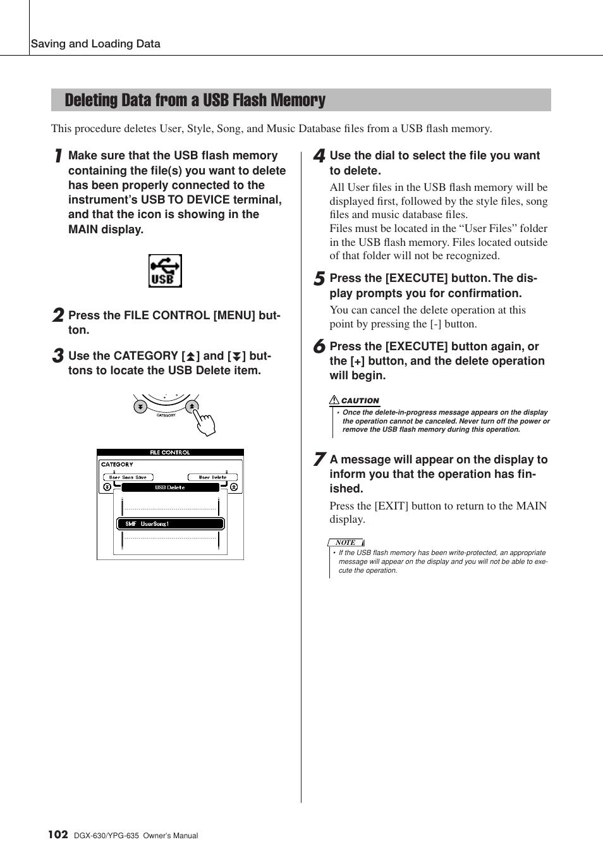 deleting data from a usb flash memory yamaha ypg 635 user manual rh manualsdir com yamaha ypg-625 manual yamaha ypg-625 manual pdf
