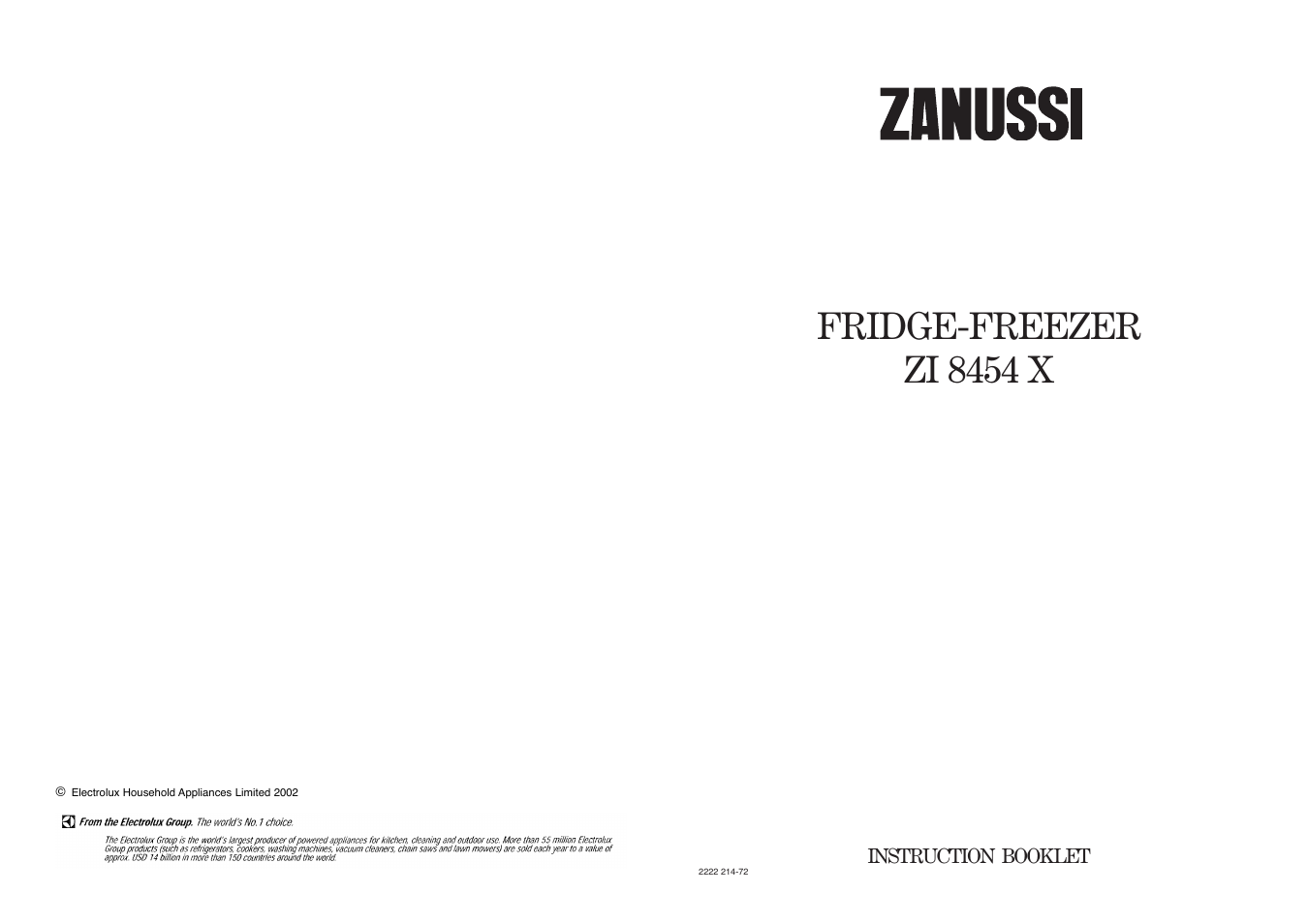 Fridge-freezer zi 8454 x   Zanussi ZI 8454 X User Manual   Page 20