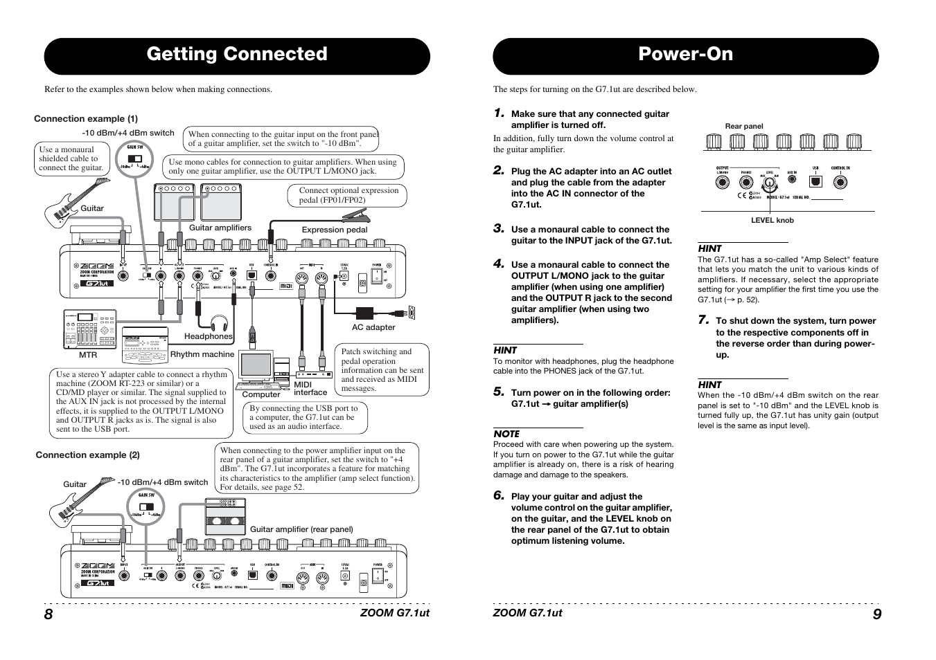 getting connected power on zoom g7 1ut user manual page 5 41 rh manualsdir com zoom h2 user manual zoom h2 user manual