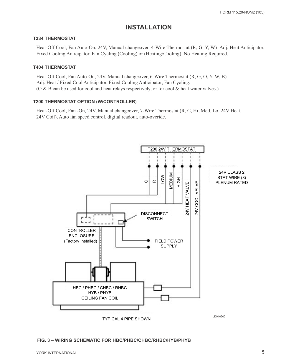 Installation York Yhyb User Manual Page 5 16 Fan Coil Thermostat Wiring Diagram