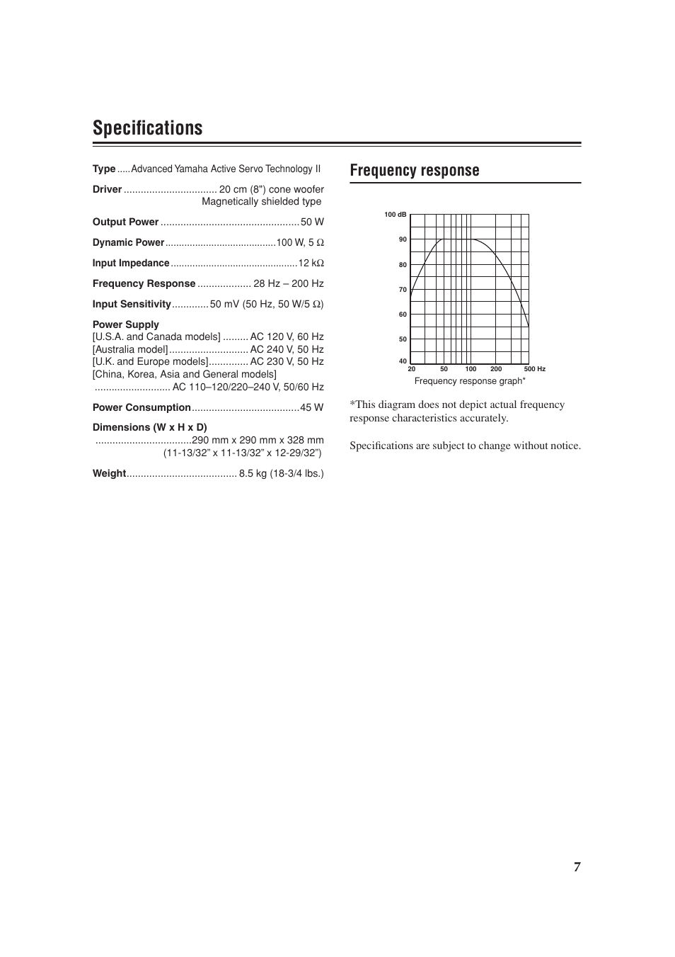 Specifications, Frequency response | Yamaha YST-SW012 User Manual | Page 11  / 12