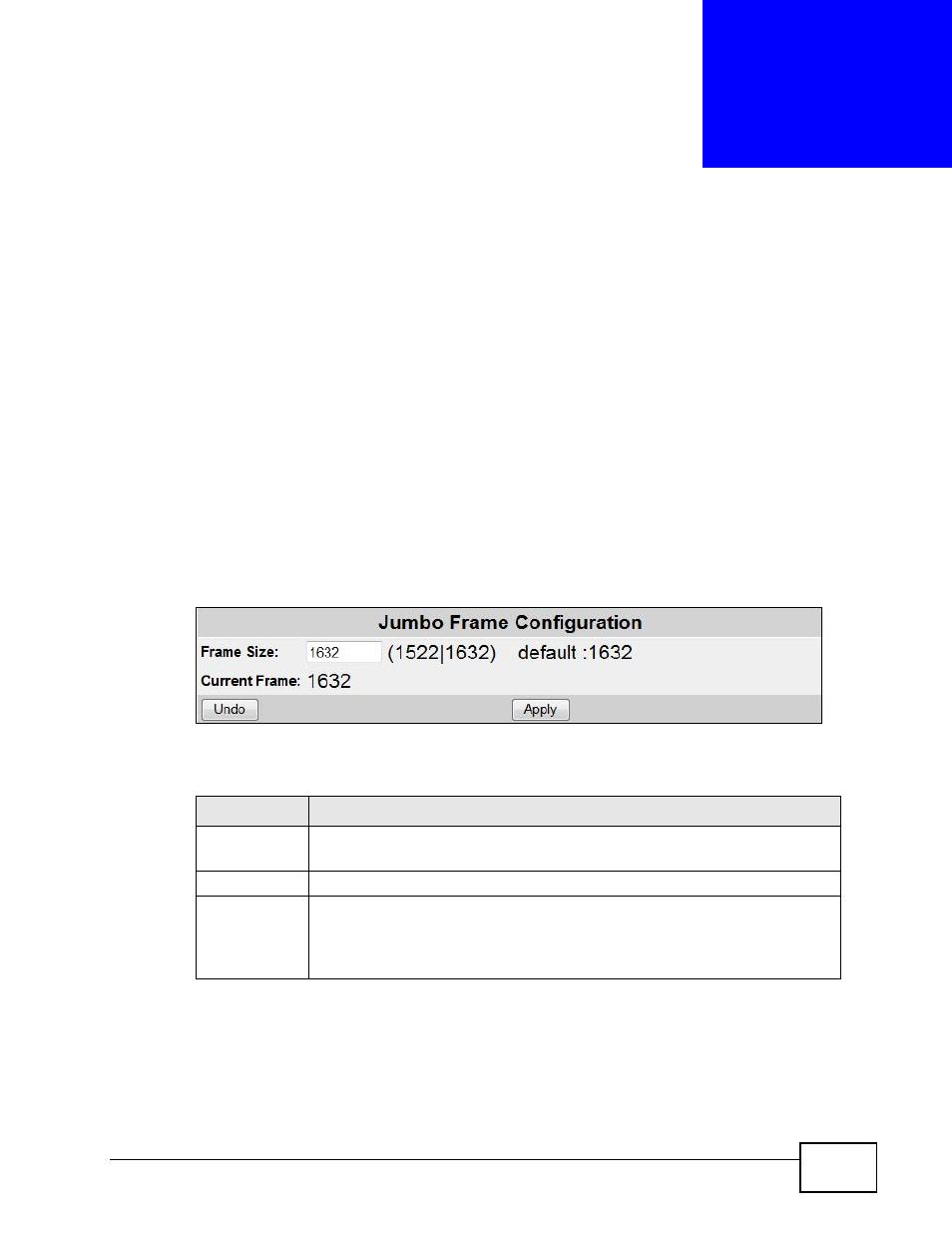 Jumbo frame, 1 overview, 2 the jumbo frame configuration screen ...