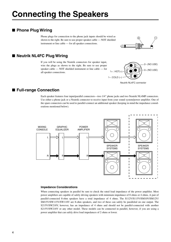 Connecting The Speakers Phone Plug Wiring Neutrik Nl4fc Jack Full Range