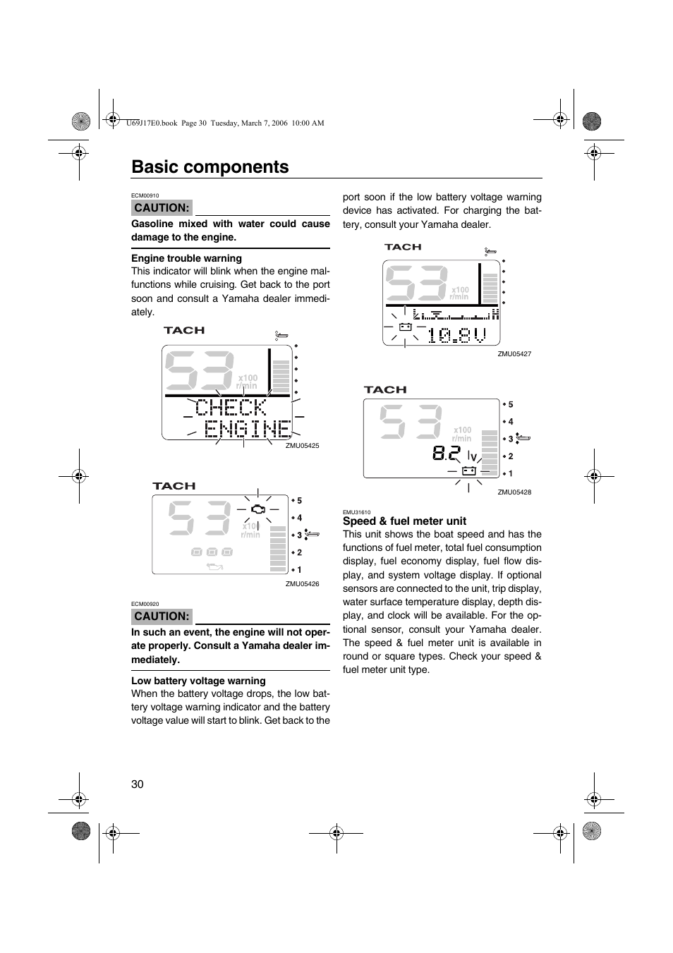 Speed Fuel Meter Unit Basic Components Yamaha Lf225 User Manual Battery Voltage Indicator Page 36 94