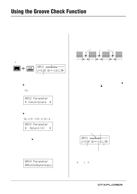 using the groove check function yamaha drum trigger module rh manualsdir com Yamaha DTXplorer Module Used Yamaha DTXplorer Manual