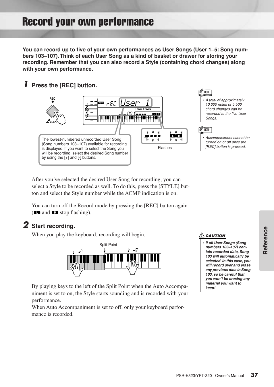 Record your own performance, User 1 | Yamaha YPT-320 EN User