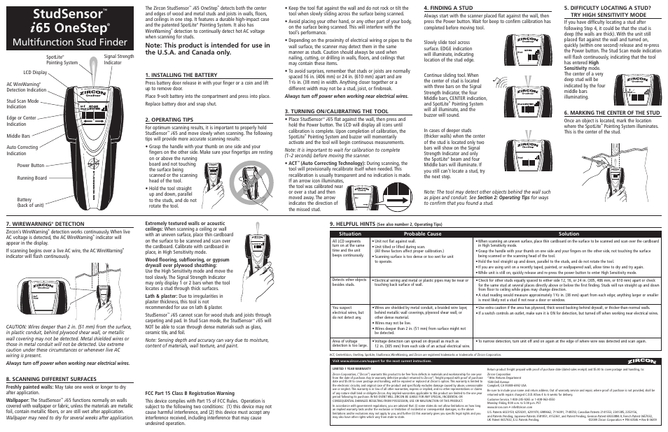 Zircon Onestep I65 User Manual 3 Pages