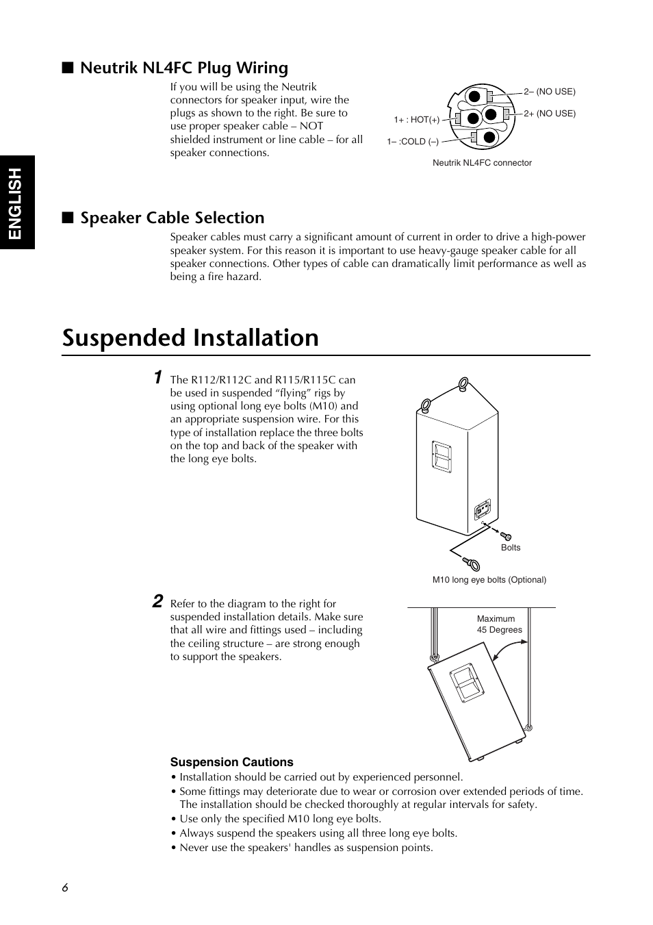 Neutrik Nl4fc Plug Wiring Speaker Cable Selection Suspended Diagram Installation Yamaha R112 User Manual Page 6 9