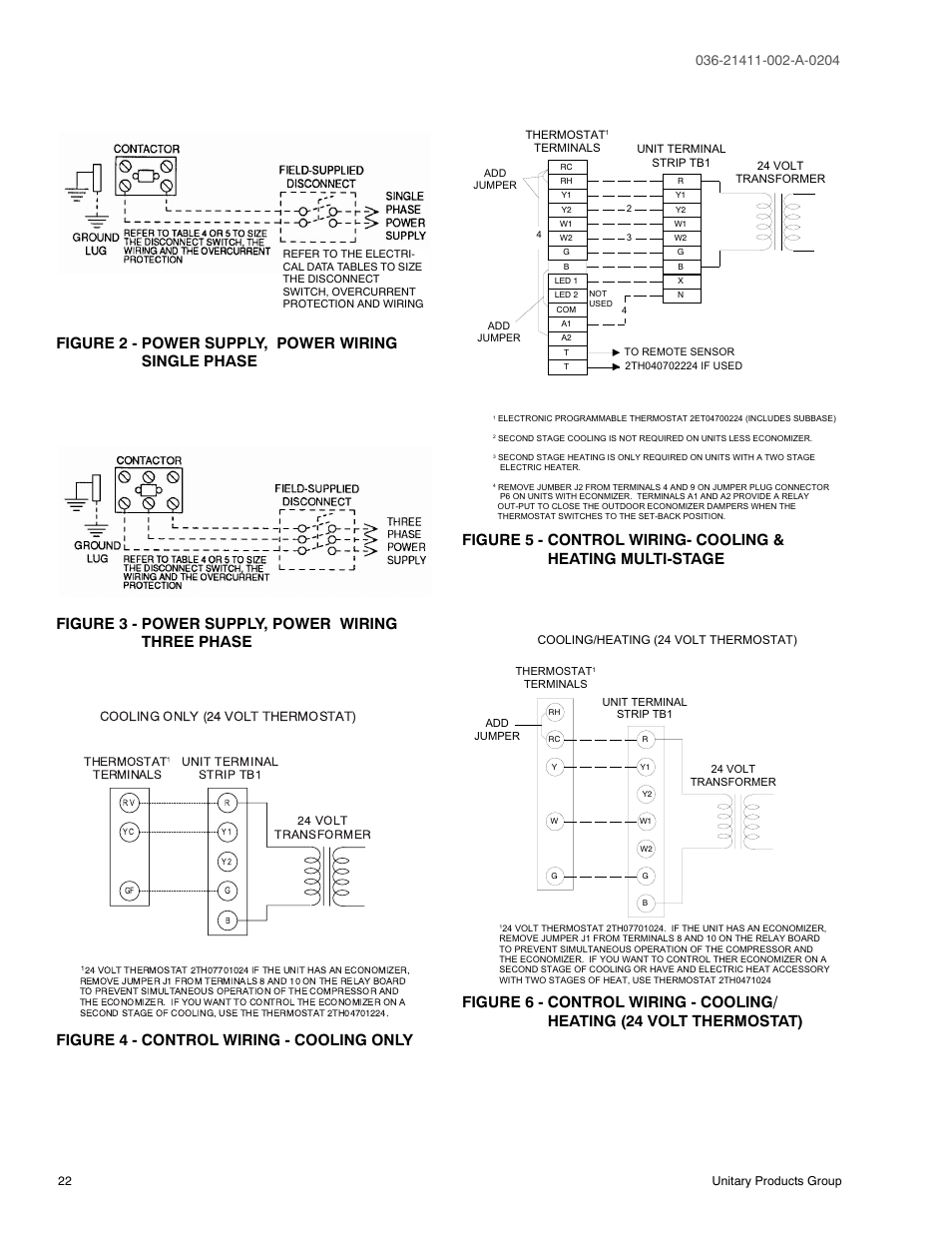 Figure 2 Power Supply Wiring Single Phase 3 Thermostat Heat And Cool Transformers Three 4 Control Cooling Only York