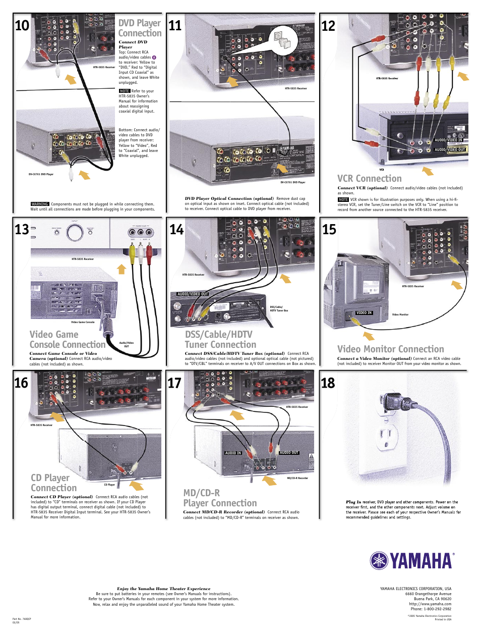 Dvd player connection, Vcr connection, Dss/cable/hdtv tuner ...